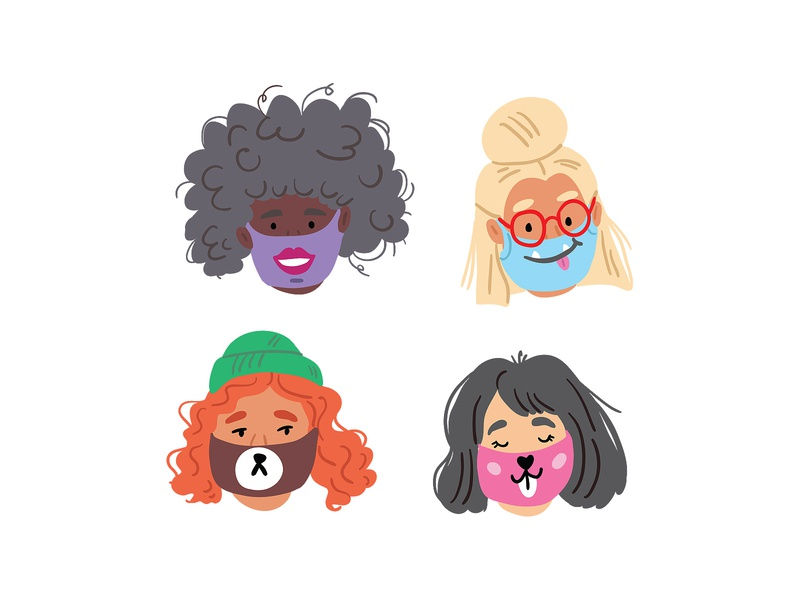 Cute face masks mask urban adobe illustrator doodle vector kids illustration covid19 covid character design picture book illustrator cute character children book illustration illustration taty vovchek