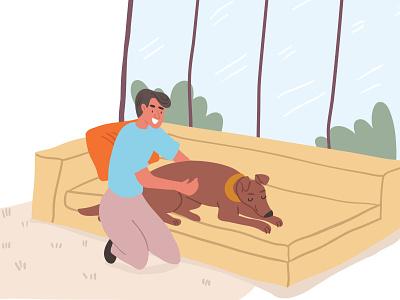 Dog massage lifestyle dog illustration blog home massage dog vector character design kids illustration cute illustrator character picture book children book illustration illustration taty vovchek