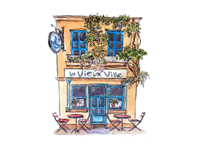 Little french house taty vovchek fine arts cafe provence watercolor illustration urbansketch sketch watercolor first short dribbble debut