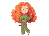 Little Merida from Brave as a little girl going to bed