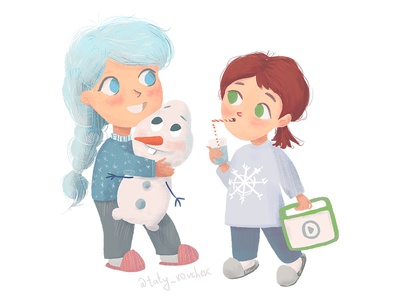 Elsa and Anna from Frozen as little girls going to bed
