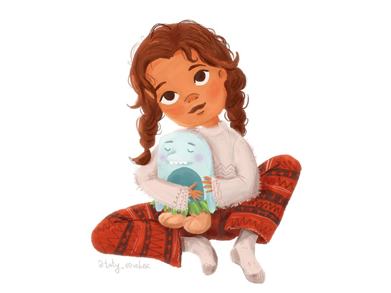 Disney S Moana As Little Girl Going To Bed By Taty Vovchek