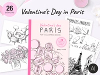 Valentines Day in Paris + PDF Coloring Book