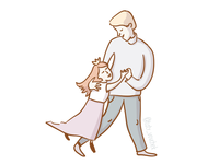 Cute Father & Daughter Illustration 05/10