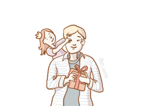 Cute Father & Daughter Illustration 10/10