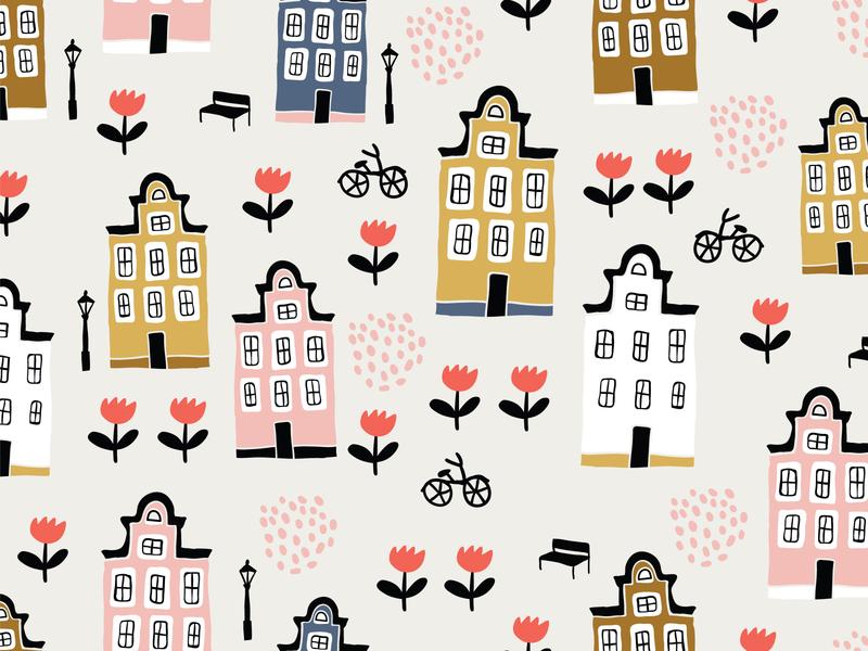 Amsterdam houses pattern textile pattern texture poster bicycle adobe illustrator vector tulips amsterdam seamless seamless pattern pattern design sketch cute illustrator kids illustration postcard children book illustration illustration taty vovchek