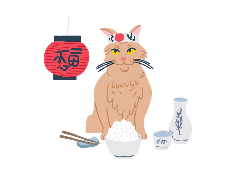 Cat sushi & rice adobe illustrator samurai animal cat sushi japanese food japanese japan vector doodle character design kids illustration cute postcard character picture book children book illustration illustration taty vovchek