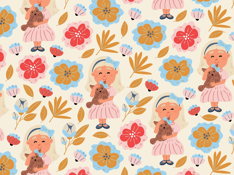 Girl with puppy in flowers seamless pattern flowers summer spring vectorart pattern seamless adobe illustrator vector dog character design kids illustration cute illustrator character picture book illustration children book illustration taty vovchek
