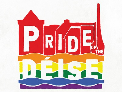 Pride of the Déise Logo lgbtq relief woodblock festival branding logo rainbow waterford pride