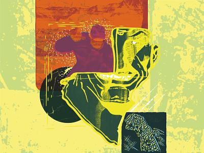 Seems Legit Poster Illustration comic face techno poster hand drawn collage texture illustration