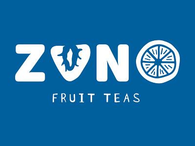 ZUNO Fruit Teas Logo playful typography hand drawn branding illustration fruit tea logo