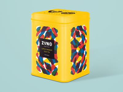 Lemon Sherbert Iced Tea Packaging hand drawn illustration cmyk abstract pattern branding packaging tea fruit