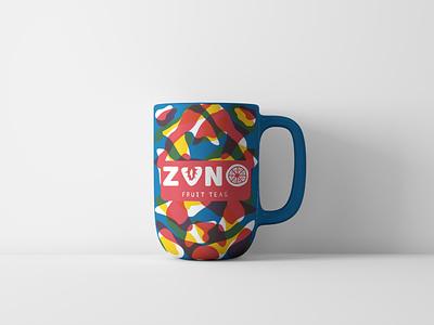 ZUNO Fruit Tea Mug hand drawn cmyk pattern abstract mug illustration branding tea fruit
