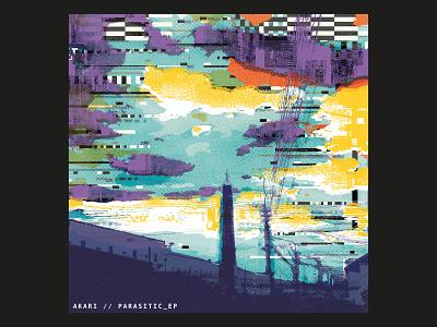 Akari - Parasitic EP sky texture industrial cloud album rave electronic glitch illustration