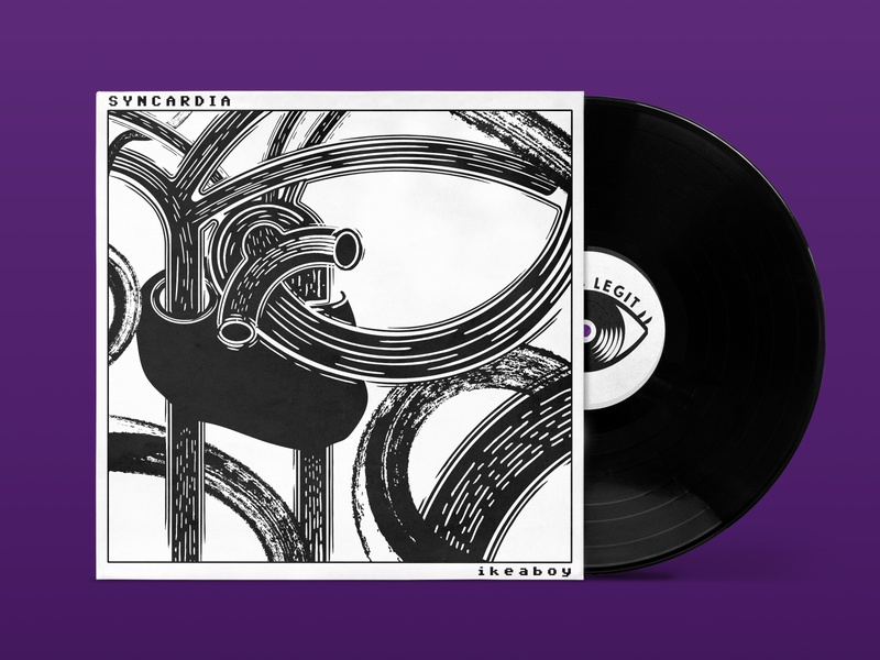 Ikeaboy - Syncardia EP Sleeve anatomical vinyl monochrome black sleeve heart techno electronica album cover seems legit illustration