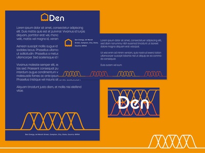 Den Eco-Energy Branding and Print Layout business card stationary print vector energy pattern abstract logo branding