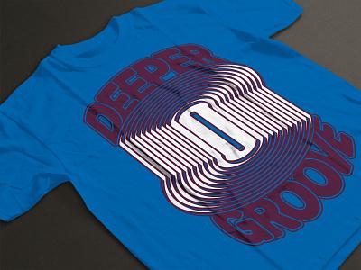 Deeper Groove T-shirt Design - Electric Blue music vinyl t-shirt apparel