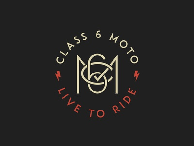 Class 6 Moto apparel logo clothes bike vintage motorsport graphic design lettering logotype monogram typography type logo