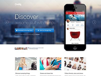 Landing Page ui ux interface app iphone landing page download social