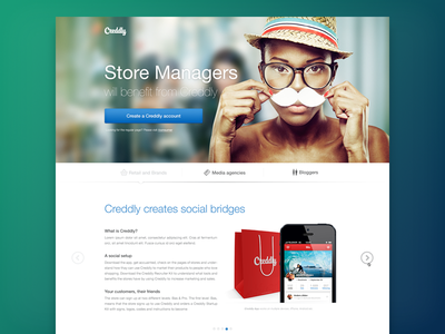 Business Landing Page creddly landing page ui ux web interface social