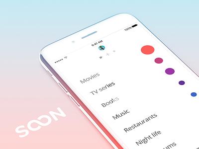 Soon - Redesign Exploration reminder todo avatar movie album submenu profile list app device mobile soon