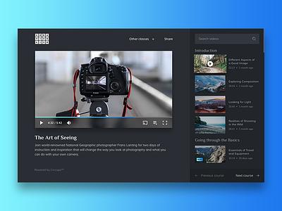 E-Learning Portal classes courses theme dark media audio video portal elearning cincopa