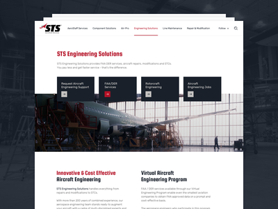 STS Aviation Group Website product typography ui design page minimal recruiting services solutions engineering aviation