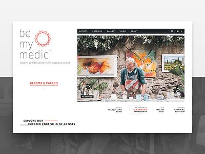 Art Curration   Be My Medici ui design website gallery subscription patronage artist art curate app web