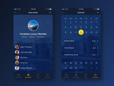 Oceanic iOS App | Luxury Rentals users list calendar blue design ui mobile app ios rentals boat