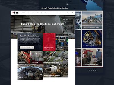 STS Aviation Group full header blue red group aviation design ui application website