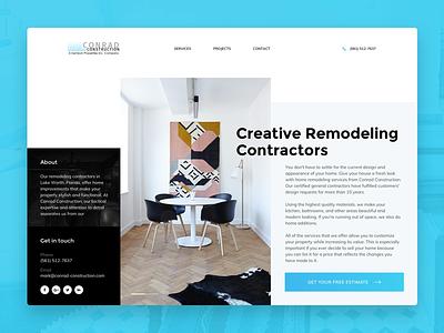 Conrad Construction bold modern blue ui design website construction