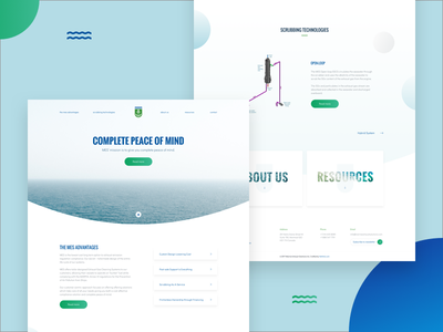 Redesign Marine Exhaust Systems green blue bubbles homepage landing page user interface ui design clean