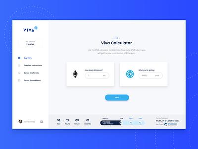 VIVA Crypto Dashboard web application design blue dashboard ui design interface ui design