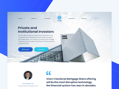 VIVA Landing Page crypto currency web typography modern clean interface blue ui landing page website ui design