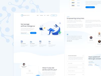 Omnidya Landing Page web typography illustration blue design landing page modern clean website interface ui ui design