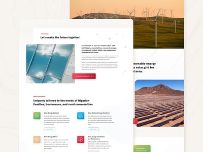 Sandstream Energy Nigeria light clean modern interface design shapes minimal landing page solar energy web ui design