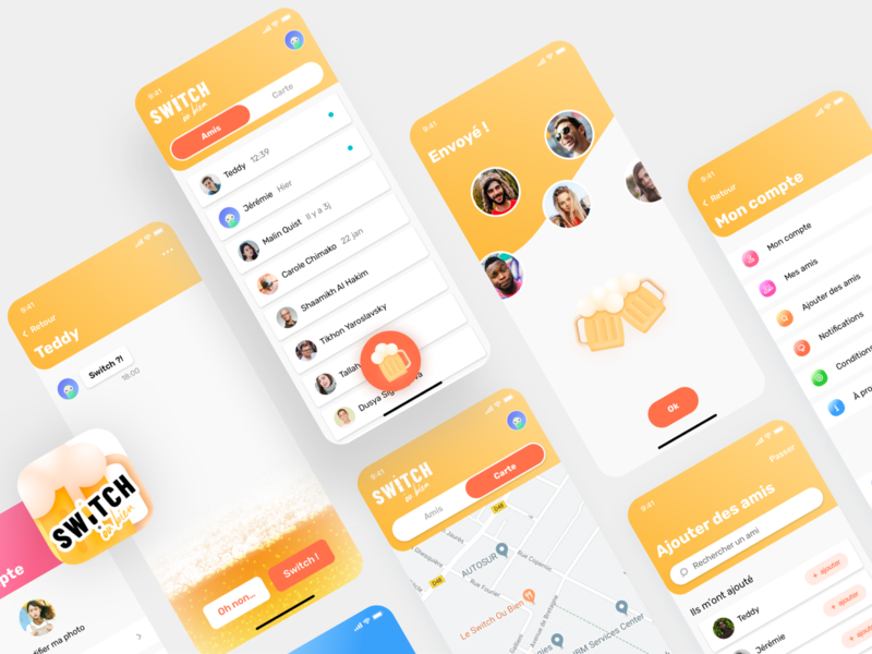 Switch - mobile app ui illustration bar switch friend afterwork app yo beer fun mobile ios design