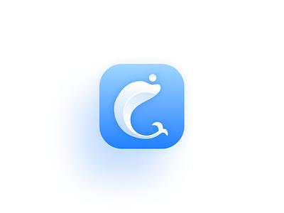 App Icon - Kid'em minimalist mobile clean animal blue logo dolphin application ios icon app ui