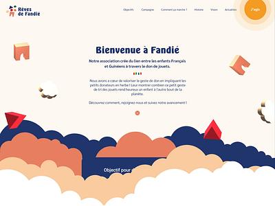 Rêves de Fandié reves de fandié tymate joyfull identity site french association francais guinée africa gift donation chlidren clouds illustration design