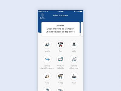 Carbon Footprint carbon footprint question test ecologic quiz app app ios animation mobile design