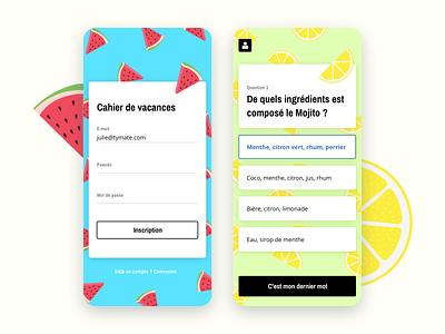 Holidays Workbook App illustration app holidays workbook quizz quiz app summer lemon watermelon login sign in question test ui mobile design colorful animation ios iphonex