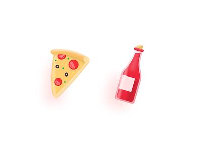 Taste of Italy red wine icon drink food italy bottle wine pizza illustration ui