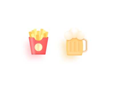 Team beer & French fries icon food fries frite beer vector illustration