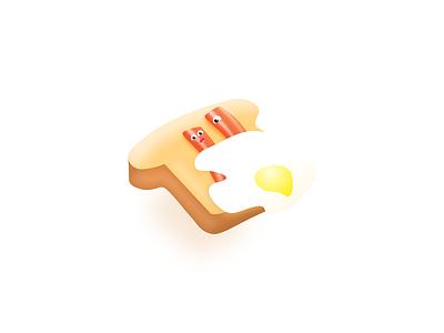 Live Breakfast fun sketch vector illustration ui food bread bunny bun brioche egg bacon sausage breakfast