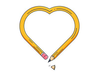 HBART minimal outline vector illustration design drawing sharpener sharpenings art hb pencil heart