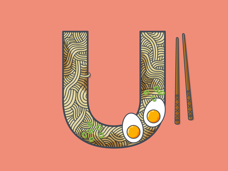 U is for... asian boiled egg egg spring onion chopsticks miso broth noodles udon typography 36 days of type illustration vector