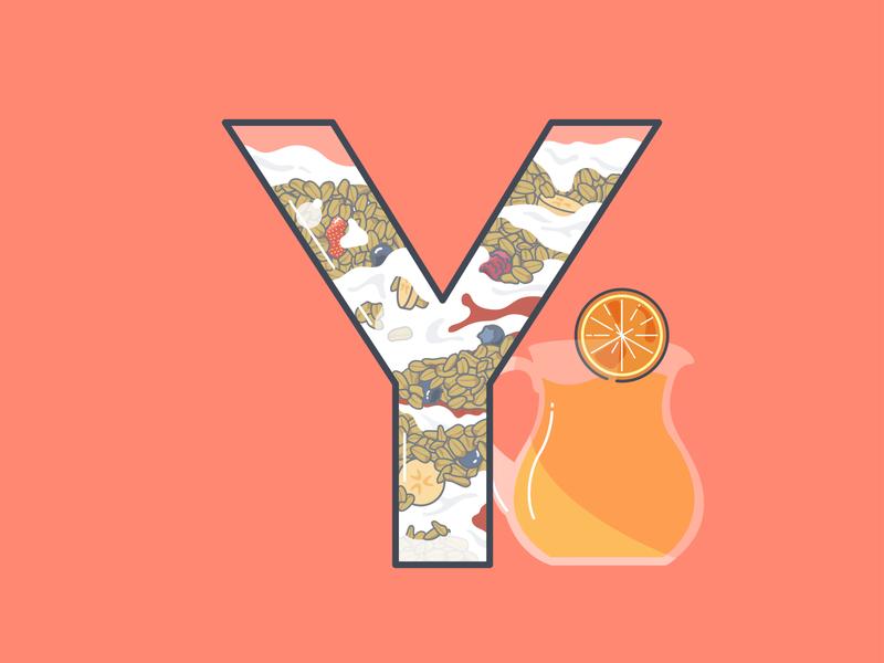 Y is for... vector 36 days of type illustration coral peach orange orange juice breakfast blueberry banana berries fruit granola yoghurt yogurt