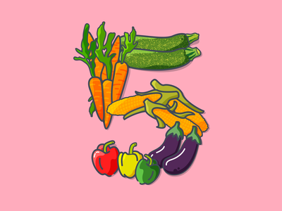 Five a day carrots vegetable medley aubergine food art healthy five a day 5 a day vegetables 36 days of type typography sticker flat  design illustration vector