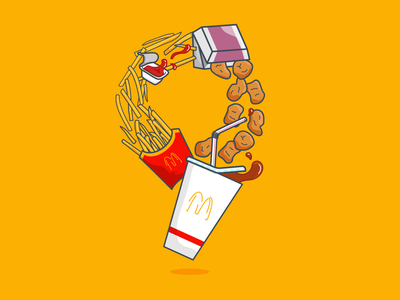 9 nugget meal coke chips junk food takeaway fast food french fries chicken nuggets mcnuggets mcdonalds vector art lettering typography 36 days of type illustration vector