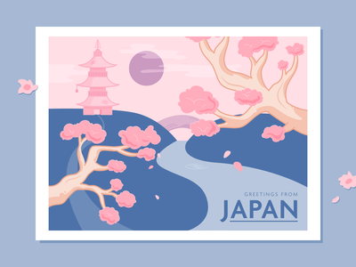 Greetings from Japan sunset dusk river landscape blossom tree cherry blossom location dribbbleweeklywarmup postcard vacation holiday japan outline illustration vector